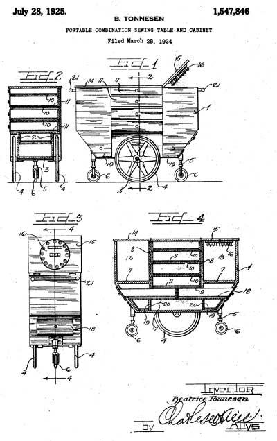 Beatrice Tonnesen Sewing Patent 1,547,846