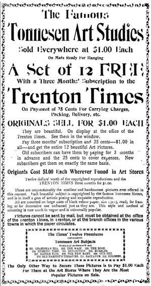 Tonnesen Sisters Advertisement 1901