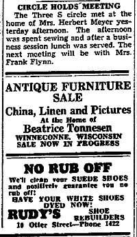 Beatrice Tonnesen Antique Furniture Sale Advertisement