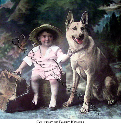 Colored print of boy and dog sitting next to battered leather valise